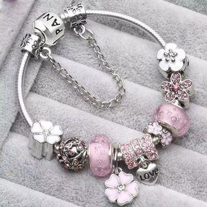 👛 Pink Pandora New European Charm Bracelet 🦄